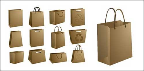 free blank kraft paper bag packaging design templates