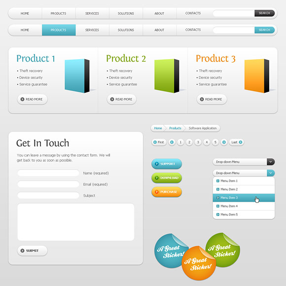 free web buttons and colorful web elements