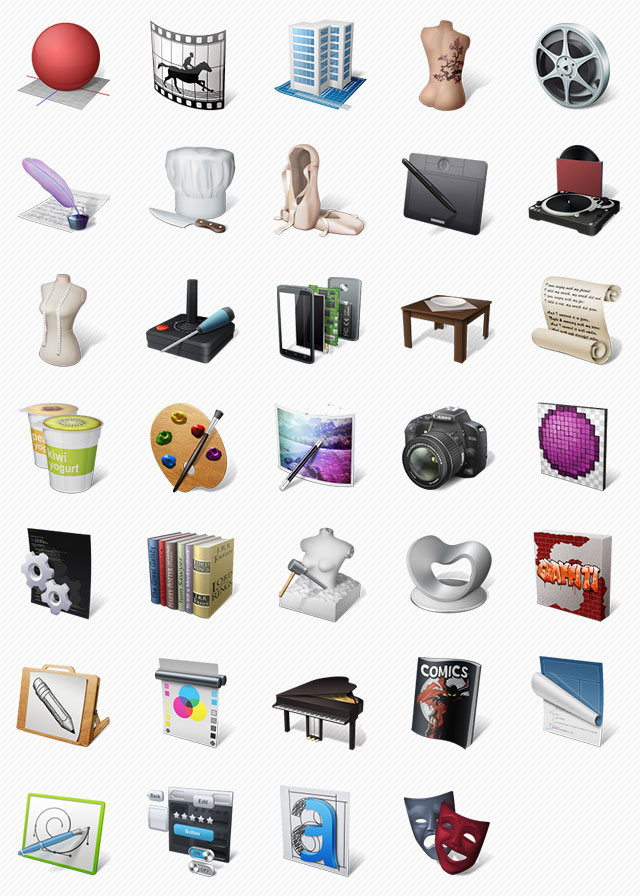 Art Professions Icon Set - 34 PNG Icons