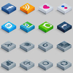 Free Isometric 3D Social Icons Set