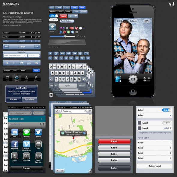 Free iOS 6 GUI PSD - iPhone 5