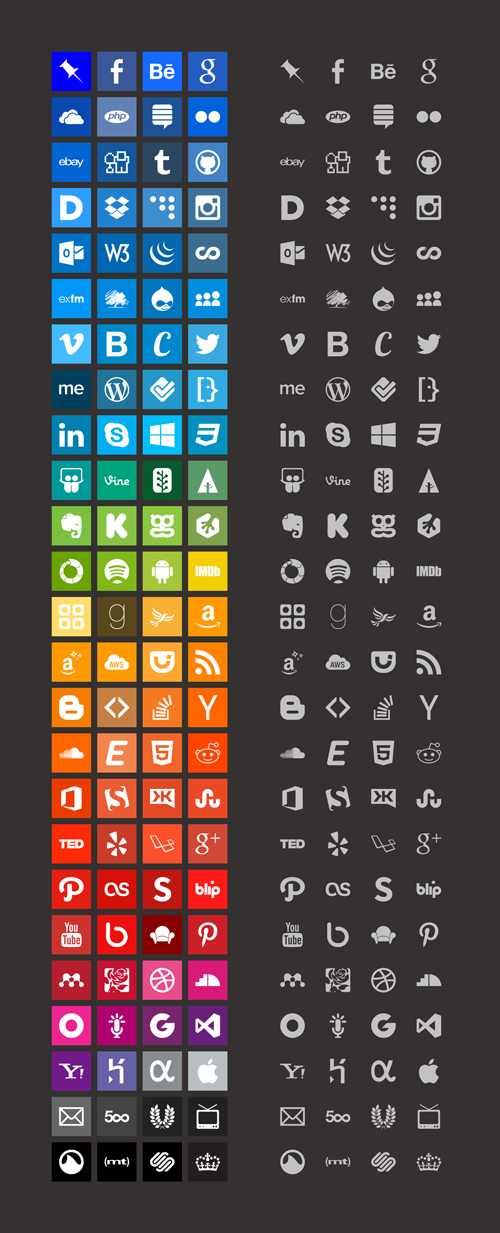 Brands Icons And Color Style Guides (100 Icons, PNG, CSS)