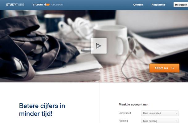 startup landing page studytube website