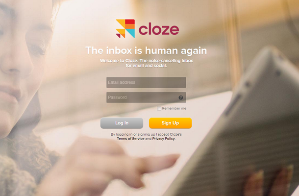 tablet app cloze website homepage signup form