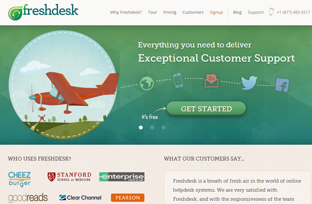 freshdesk homepage website layout startup service