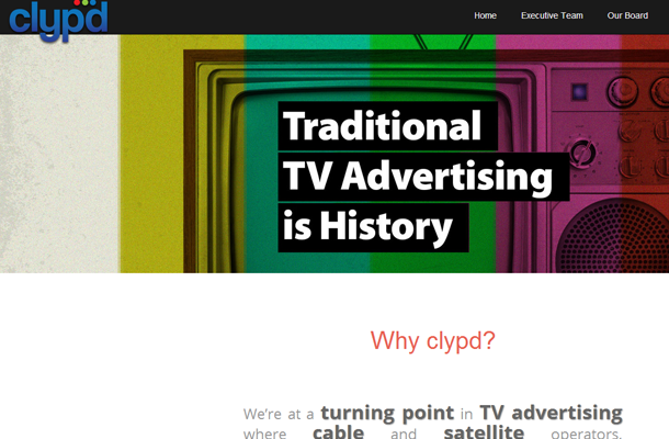 clypd television advertising media company startup homepage