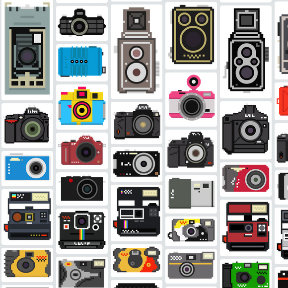 A collection of 100 pixelated camera illustrations for anybody to download and use in whatever way they see fit.