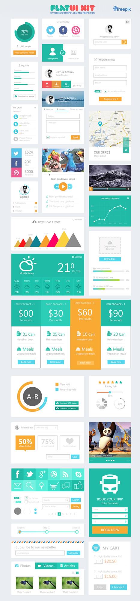 10 Free Flat UI Kits