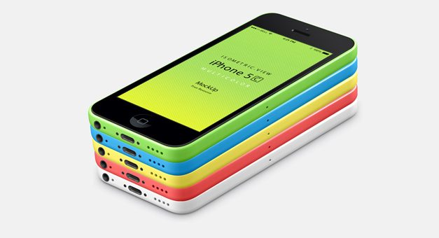 Free 3D View iPhone 5C Psd Vector Mockup