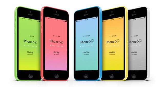 Free 3-4 iPhone 5C Psd Vector Mockup