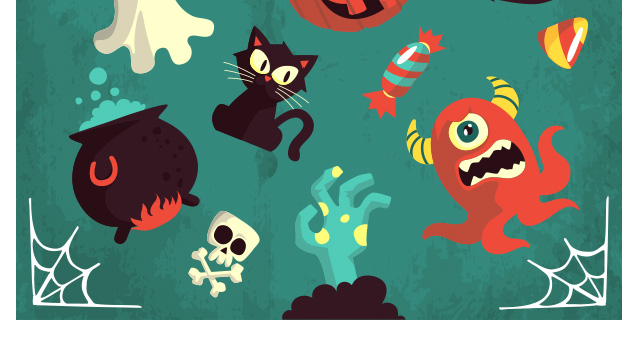 004-happy-halloween-terror-elements-vector-flat-scary-hollydays
