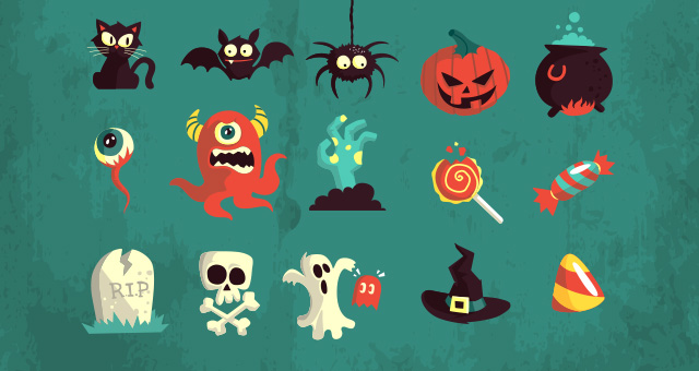 005-happy-halloween-terror-elements-vector-flat-scary-hollydays