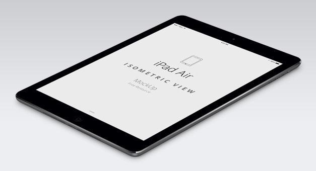 Free Psd iPad Air Perspective Mockup