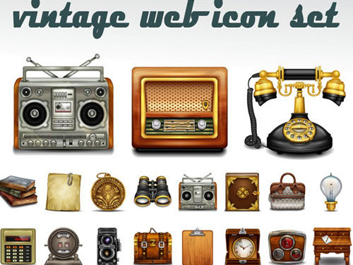 20 Sets Of Free Vintage Style Icons