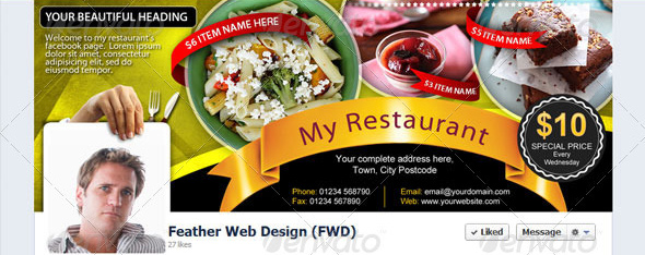 restaurant fb timeline cover Top 40 Premium Facebook Timeline Cover Photo Templates