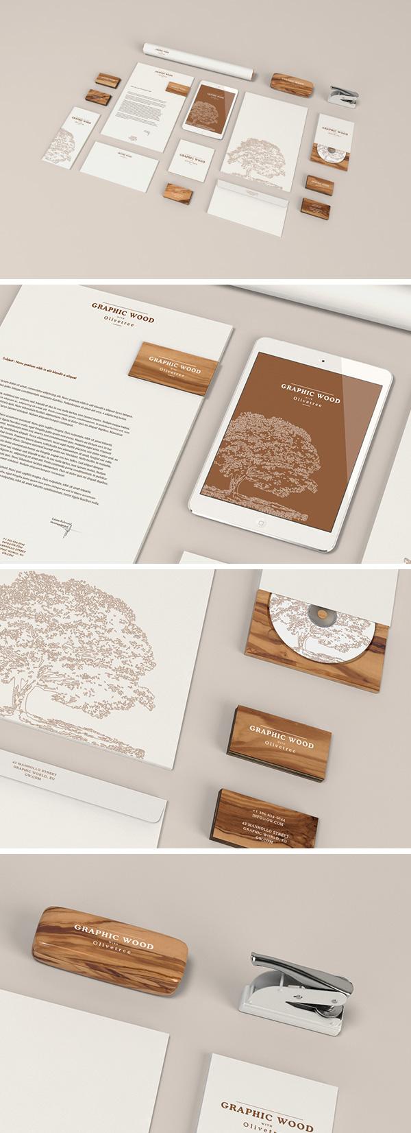 Free Stationery MockUp – Wood Edition