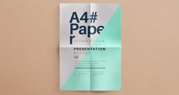 A4 overhead paper mockup template in PSD