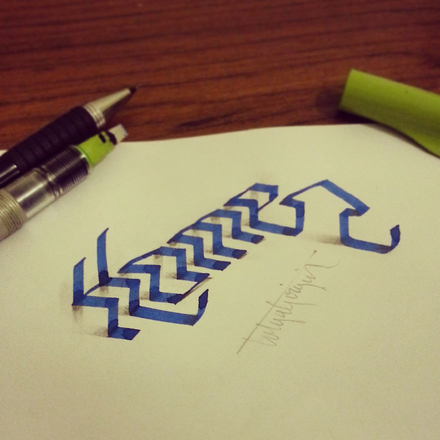 3D Anamorphic Lettering Illustrations 2