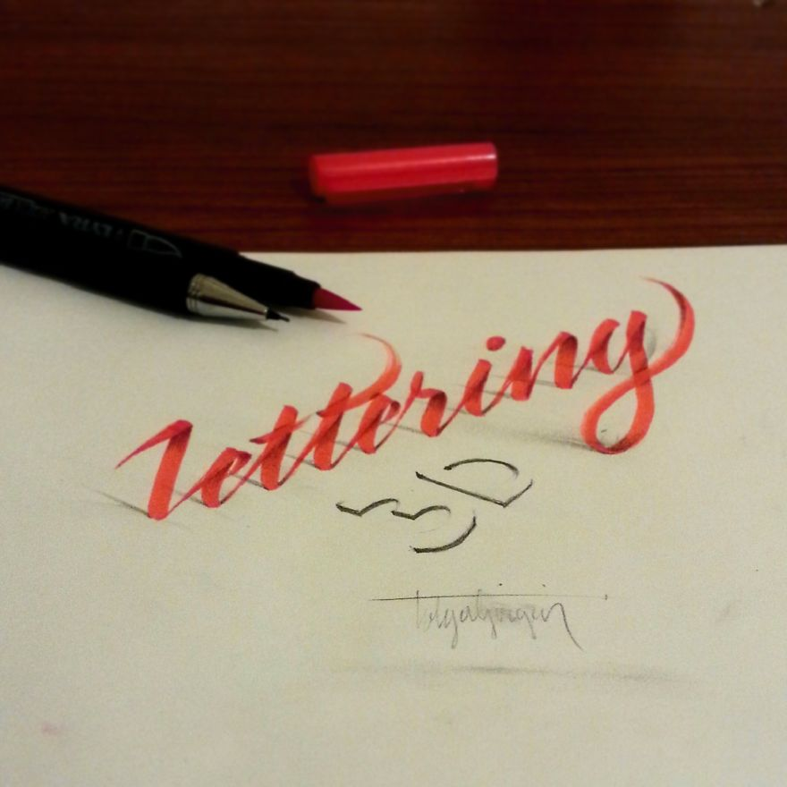 3D Anamorphic Lettering Illustrations 3