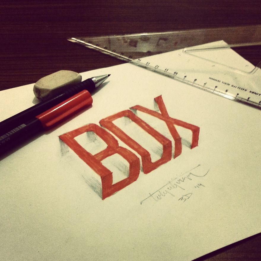 3D Anamorphic Lettering Illustrations 7