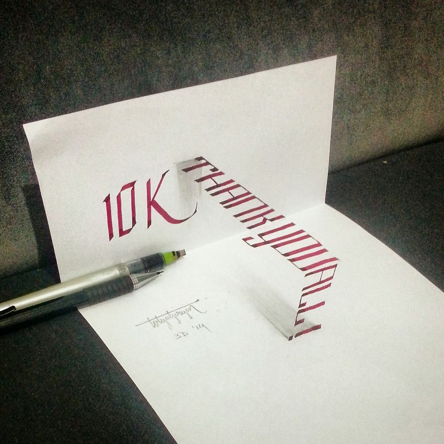 3D Anamorphic Lettering Illustrations 8