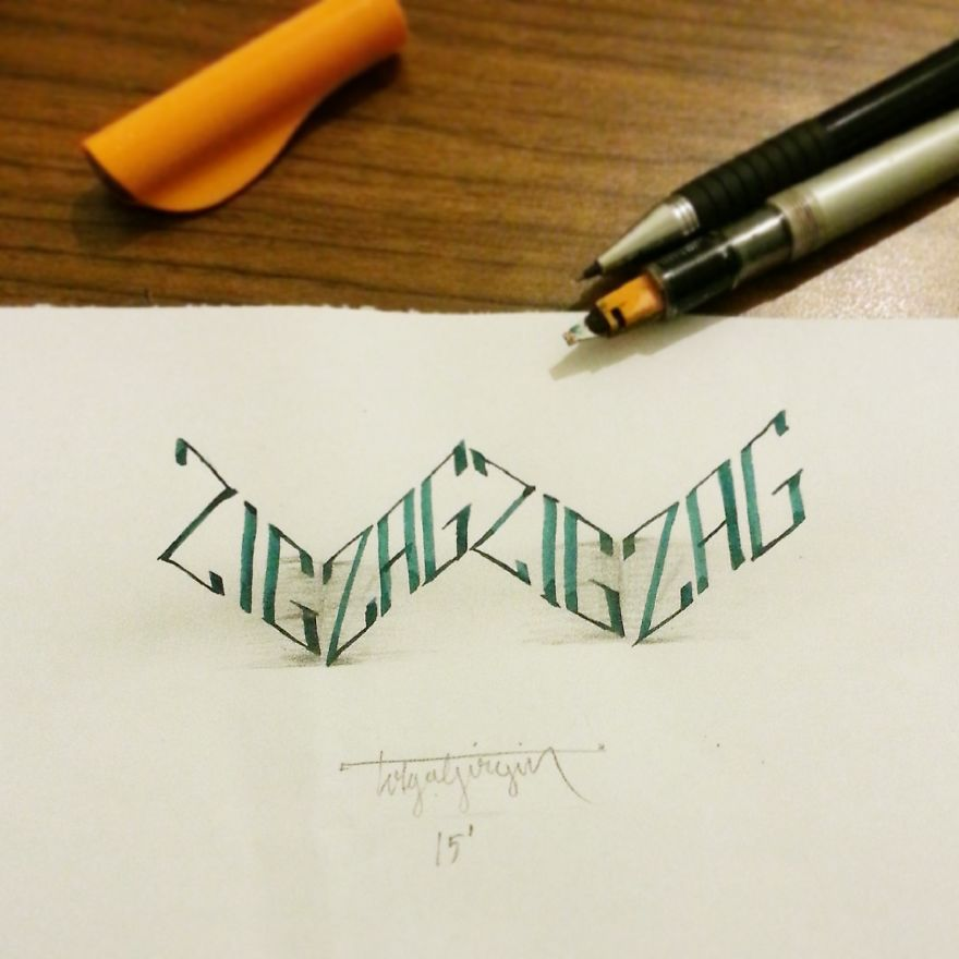 3D Anamorphic Lettering Illustrations 9