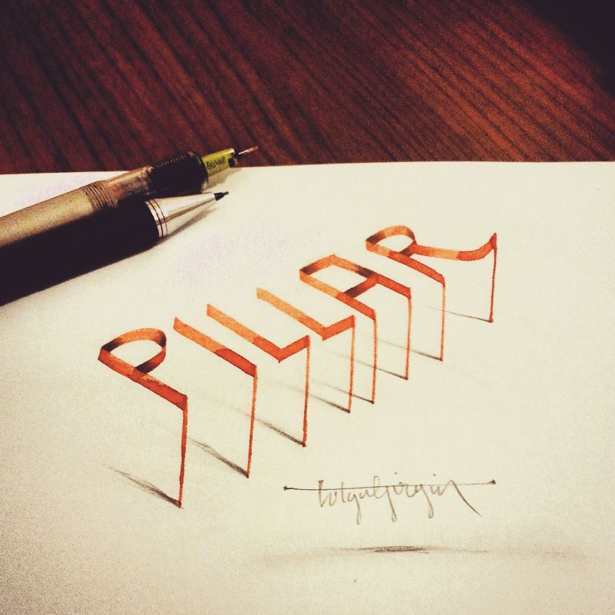 3D Anamorphic Lettering Illustrations 5