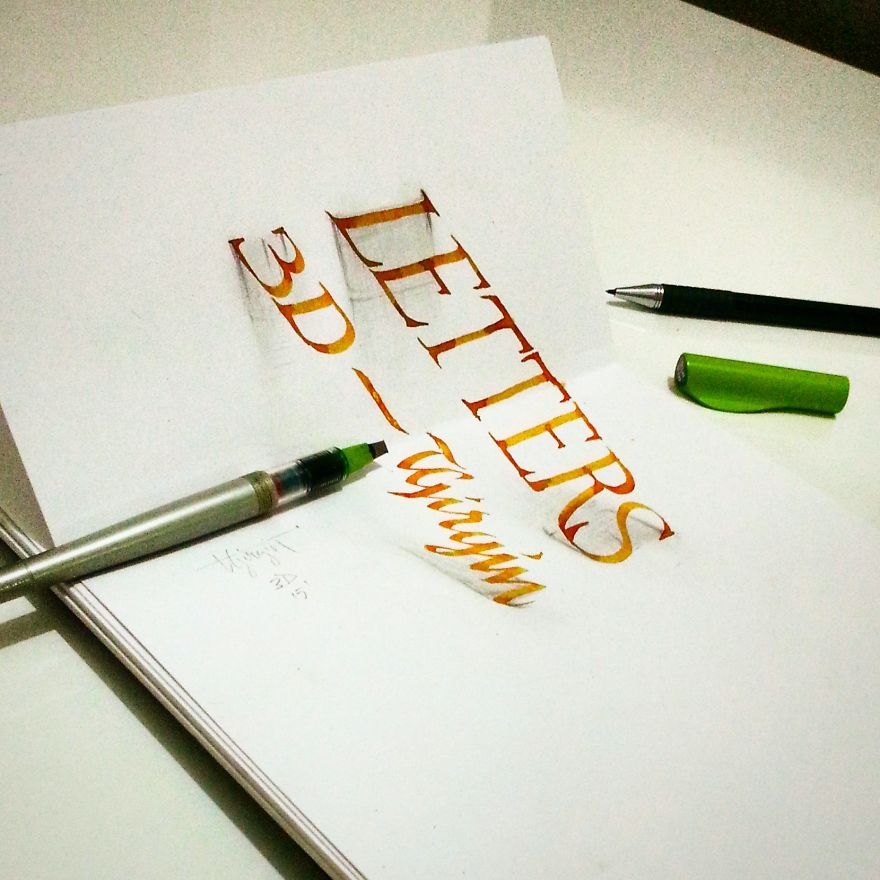 3D Anamorphic Lettering Illustrations 10