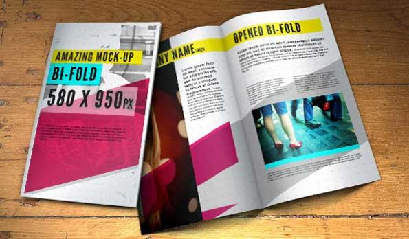 bi-fold brochure PSD 3D mockup template