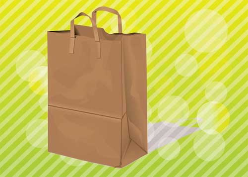 free blank brown shopping paper bag packaging design templates