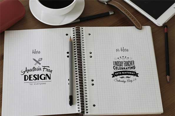 notebook PSD 3D mockup template