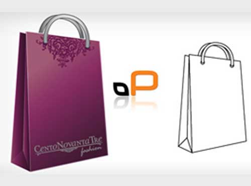 free blank shopping paper bag packaging design templates