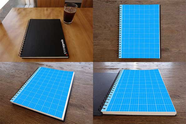 sketch book PSD 3D mockup template