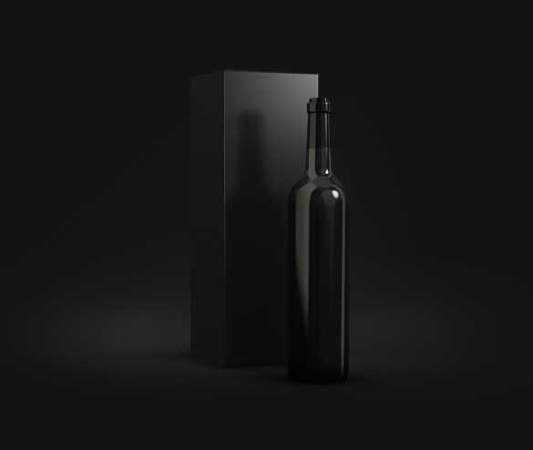 dark wine bottle psd packaging mock up template